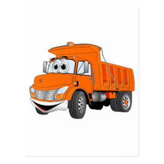 Dump Truck 2 Axle Orange Cartoon Postcard