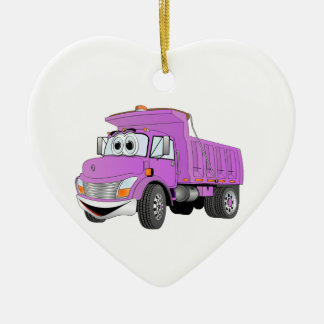 Dump Truck 2 Axle Purple Cartoon Ceramic Ornament