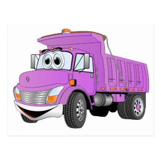 Dump Truck 2 Axle Purple Cartoon Postcard