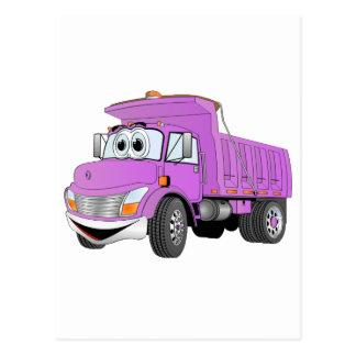 Dump Truck 2 Axle Purple Cartoon Post Card
