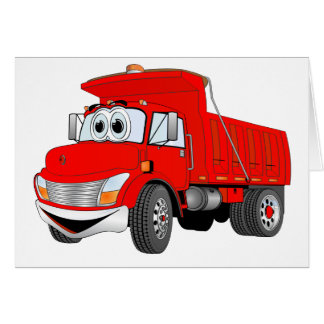 Dump Truck 2 Axle Red Cartoon Card