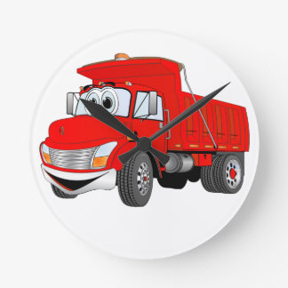 Dump Truck 2 Axle Red Cartoon Round Wall Clocks