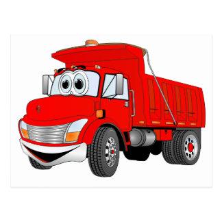 Dump Truck 2 Axle Red Cartoon Postcard