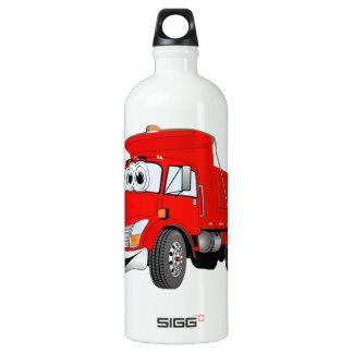 Dump Truck 2 Axle Red Cartoon Water Bottle