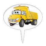 Dump Truck 2 Axle Yellow Cartoon Cake Toppers