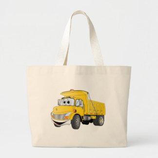 Dump Truck 2 Axle Yellow Cartoon Large Tote Bag