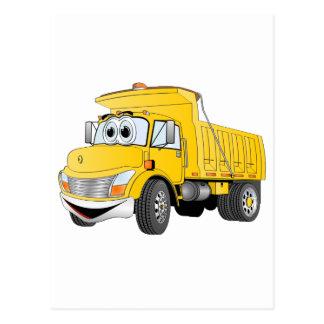 Dump Truck 2 Axle Yellow Cartoon Postcard