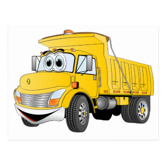 Dump Truck 2 Axle Yellow Cartoon Post Cards