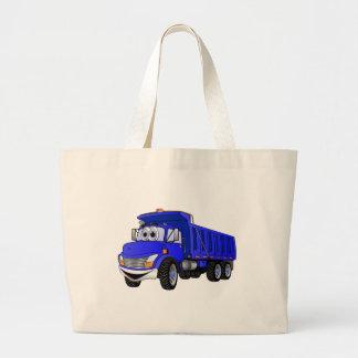 Dump Truck 3 Axle Blue Cartoon Large Tote Bag