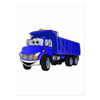 Dump Truck 3 Axle Blue Cartoon Postcard