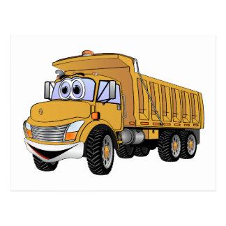 Dump Truck 3 Axle Gold Cartoon Postcard