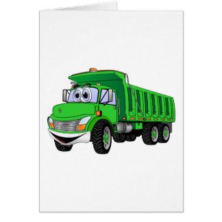 Dump Truck 3 Axle Green Cartoon Card