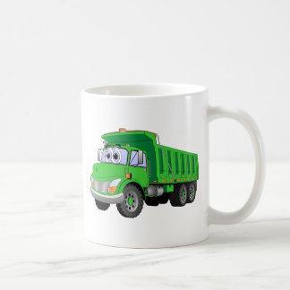 Dump Truck 3 Axle Green Cartoon Coffee Mug