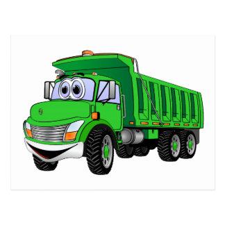 Dump Truck 3 Axle Green Cartoon Postcard