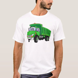 Dump Truck 3 Axle Green Cartoon T-Shirt