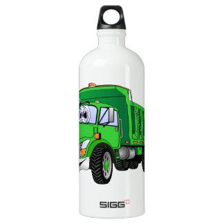 Dump Truck 3 Axle Green Cartoon Water Bottle