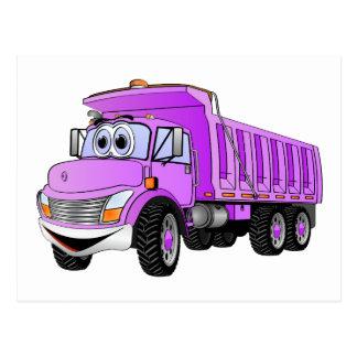 Dump Truck 3 Axle Purple Cartoon Postcards