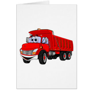 Dump Truck 3 Axle Red Cartoon Card