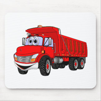 Dump Truck 3 Axle Red Cartoon Mousepads