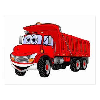 Dump Truck 3 Axle Red Cartoon Postcard