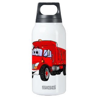 Dump Truck 3 Axle Red Cartoon Thermos Bottle