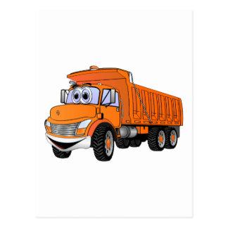 Dump Truck 3Ax Orange Cartoon.png Postcard