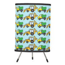 Dump Truck and Backhoe Horizontal Pattern Tripod Lamp
