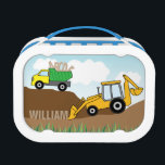 """Dump Truck and Backhoe with Loader Personalized Lunch Box<br><div class=""""desc"""">This lunch features a design perfect for a little boy. It offers a yellow backhoe with a loader attempting to pick up the letters of the child&#39;s name. The dump truck is hauling more letters of the alphabet. The design is accented with several hills of dirt, green grass and blue...</div>"""