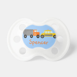 Dump Truck and Taxi Cab Cars Personalized Baby Pacifier