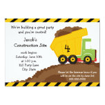 "Dump Truck Birthday Invitation 5"" X 7"" Invitation Card"