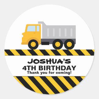 Dump Truck Birthday Party Favor Sticker