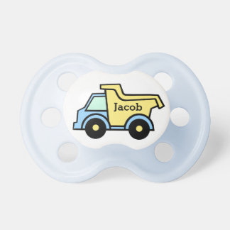 Dump Truck Blue and Yellow BooginHead Pacifier