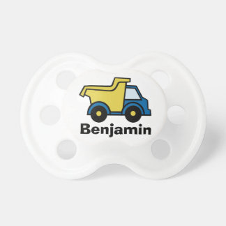 Dump Truck Blue with Name Pacifier