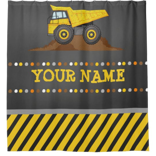 Dump Truck Boys Bathroom Shower Curtain With Name
