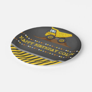 Dump Truck Boys Birthday Party Personalized Paper Plate
