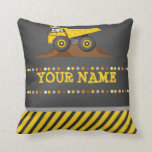 "Dump Truck Boys Throw Pillow Personalized name<br><div class=""desc"">Dump Truck Boys Throw Pillow Personalized name</div>"