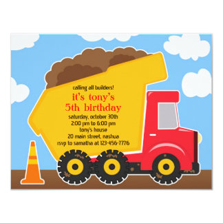 "Dump Truck Construction Birthday Invitation 4.25"" X 5.5"" Invitation Card"
