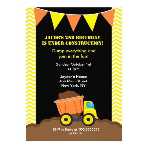 Dump Truck Construction Birthday Invitations (front side)