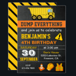 "Dump Truck Construction Birthday Party Invitation<br><div class=""desc"">Amaze your guests with this cool construction birthday party invite featuring a dump truck and cute construction elements with modern typography against a chalkboard background. Simply add your event details on this easy-to-use template to make it a one-of-a-kind invitation. Flip the card over to reveal a vibrant yellow and black...</div>"