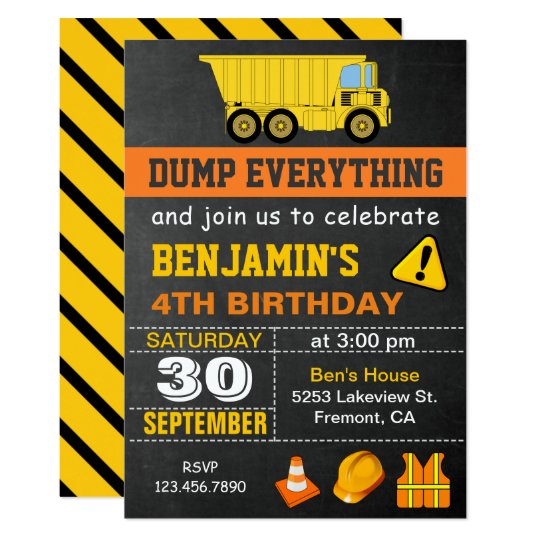 dump truck construction birthday party invitation zazzle com