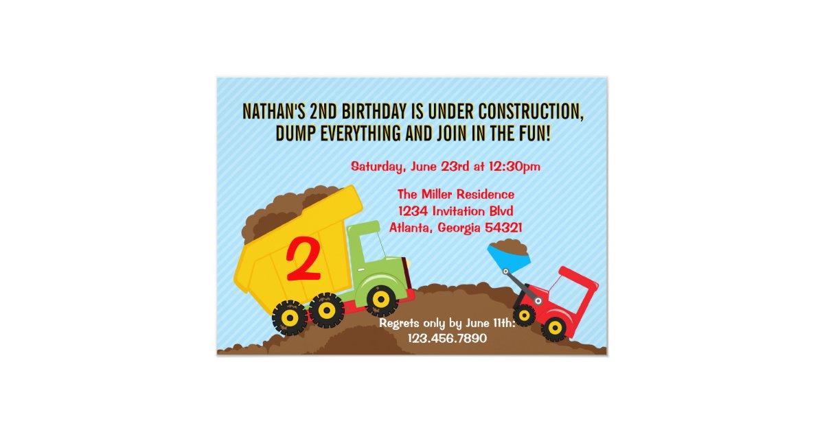 Dump Truck Construction Boy Birthday Party 5x7 Paper Invitation Card ...