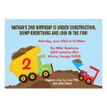 Dump Truck Construction Boy Birthday Party Custom Announcement
