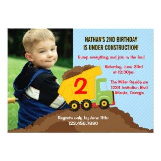 Dump Truck Construction Boy Birthday Party Photo Custom Invitations