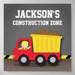 Dump Truck Construction Builder Boys Room Decor Poster