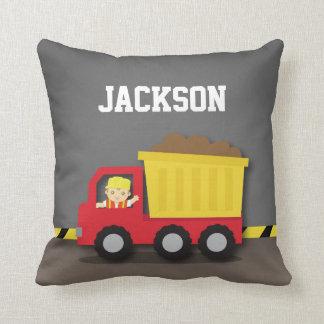 Dump Truck Construction Builder Boys Room Decor Throw Pillow