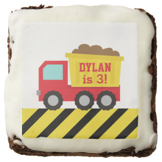 Dump Truck Construction Kids Birthday Party Square Brownie