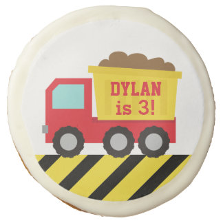 Dump Truck Construction Kids Birthday Party Sugar Cookie