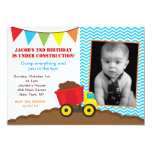 Dump Truck Construction Photo Birthday Invitations