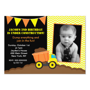dump truck birthday invitations zazzle