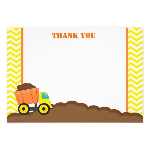 Dump Truck Construction Thank You Cards
